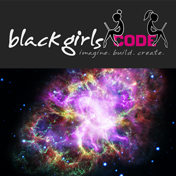 Image of black girls code logo and crab nebula