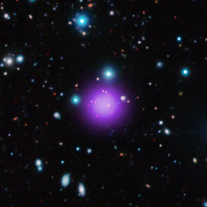Imagen del cúmulo de galaxias más lejano, descubierto con datos del observatorio de rayos X Chandra y otros telescopios. EL cúmulo de galaxias, llamado CL J1001+0220, se halla a 11100 millones de años luz de la Tierra.
