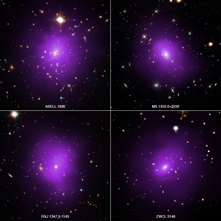These four galaxy clusters were part of a large survey of over 300 clusters used to investigate dark energy, the mysterious energy that is currently driving the accelerating expansion of the Universe, as described in our latest press release. In these composite images, X-rays from NASA's Chandra X-ray Observatory (purple) have been combined with optical light from the Hubble Space Telescope and Sloan Digital Sky Survey (red, green, and blue).