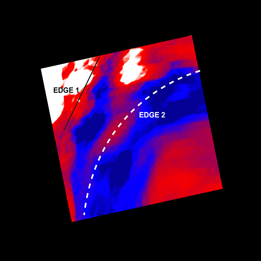 Map of temperature gradients in Perseus Cluster wave
