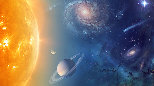 Sun and planets graphic